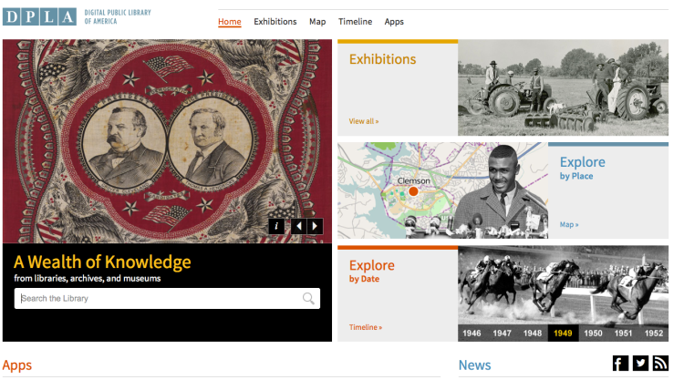 DPLA Search bar and Browse Features