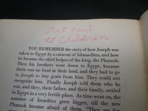 "The Children's Passover Haggadah note in text: ""Don't read to children"""