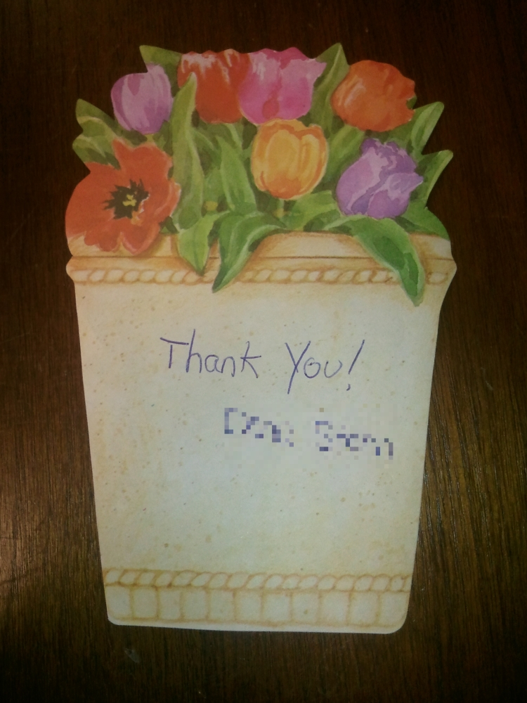 Flower pot stationery with a thank you note from a library member