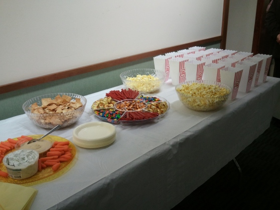 Movie night snack spread