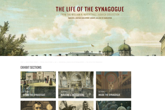 Screenshot of the Life of the Synagogue homepage. Items from the William A. Rosenthall Judaica Collection