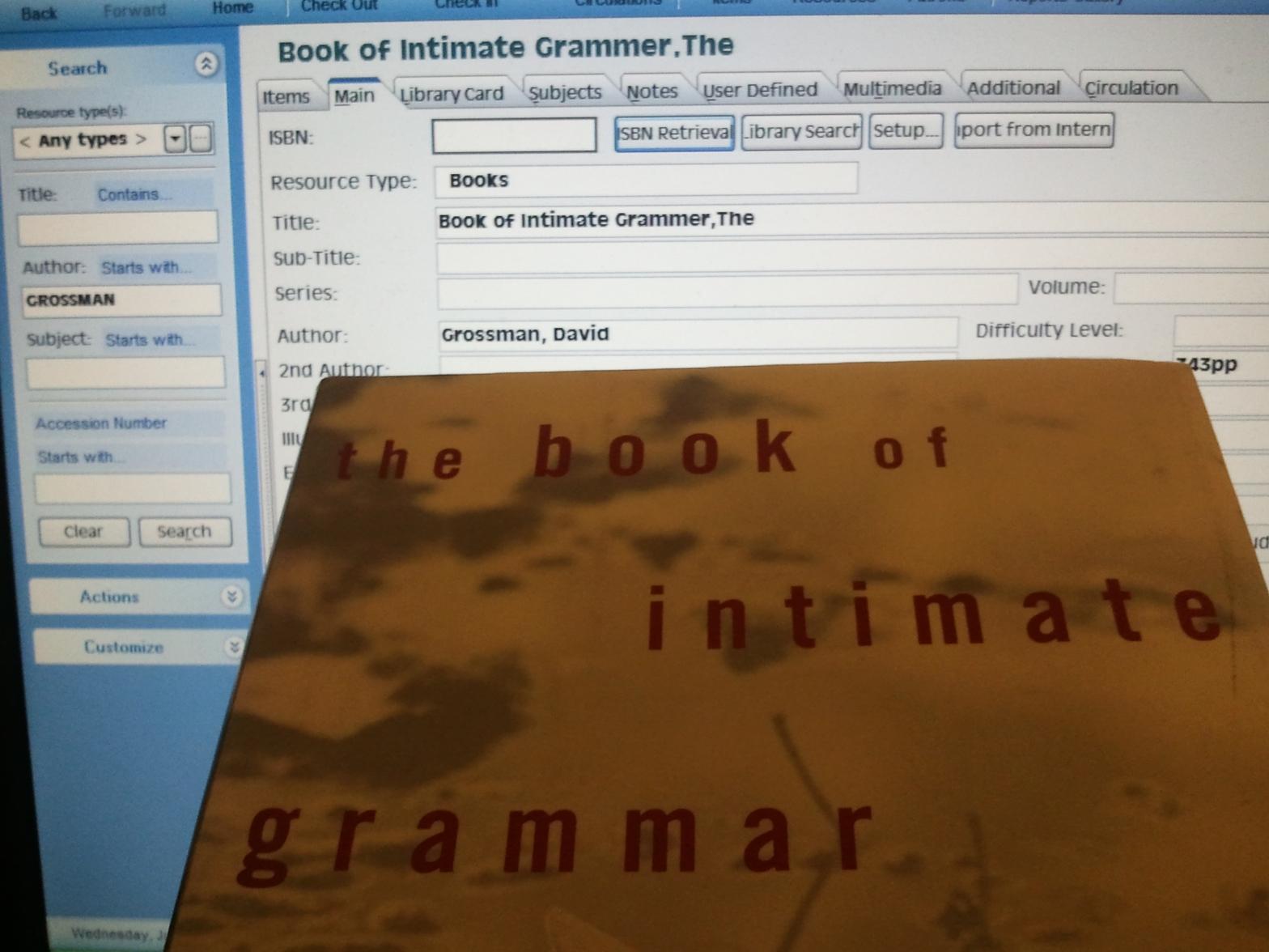 The Book of Intimate Grammar, By David Grossman