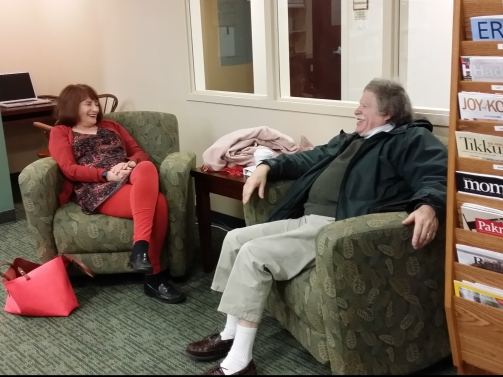 Temple members chatting in the Nancy Mae Shaines Library